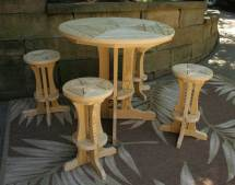 Treated Pine Star Design Pub Table With4 Stools
