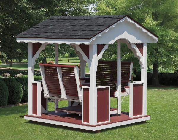 Vinyl & Poly-lumber Gable Gazebo Swing