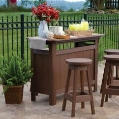 Pub Table And Chairs 3 Piece Set 2 Coolest Desk Poly Lumber Outdoor Bar