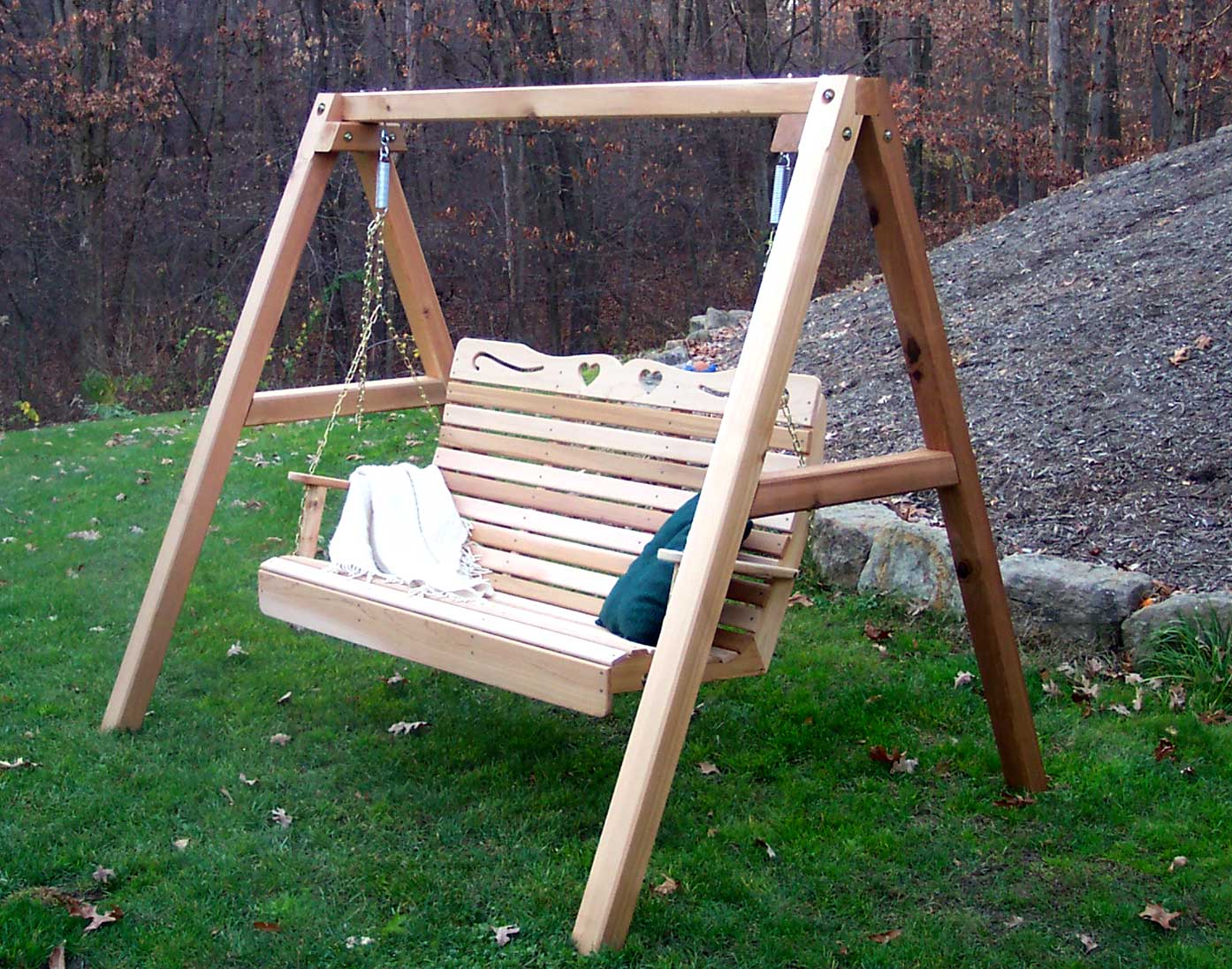 swing chair with stand kuwait unusual lounge red cedar