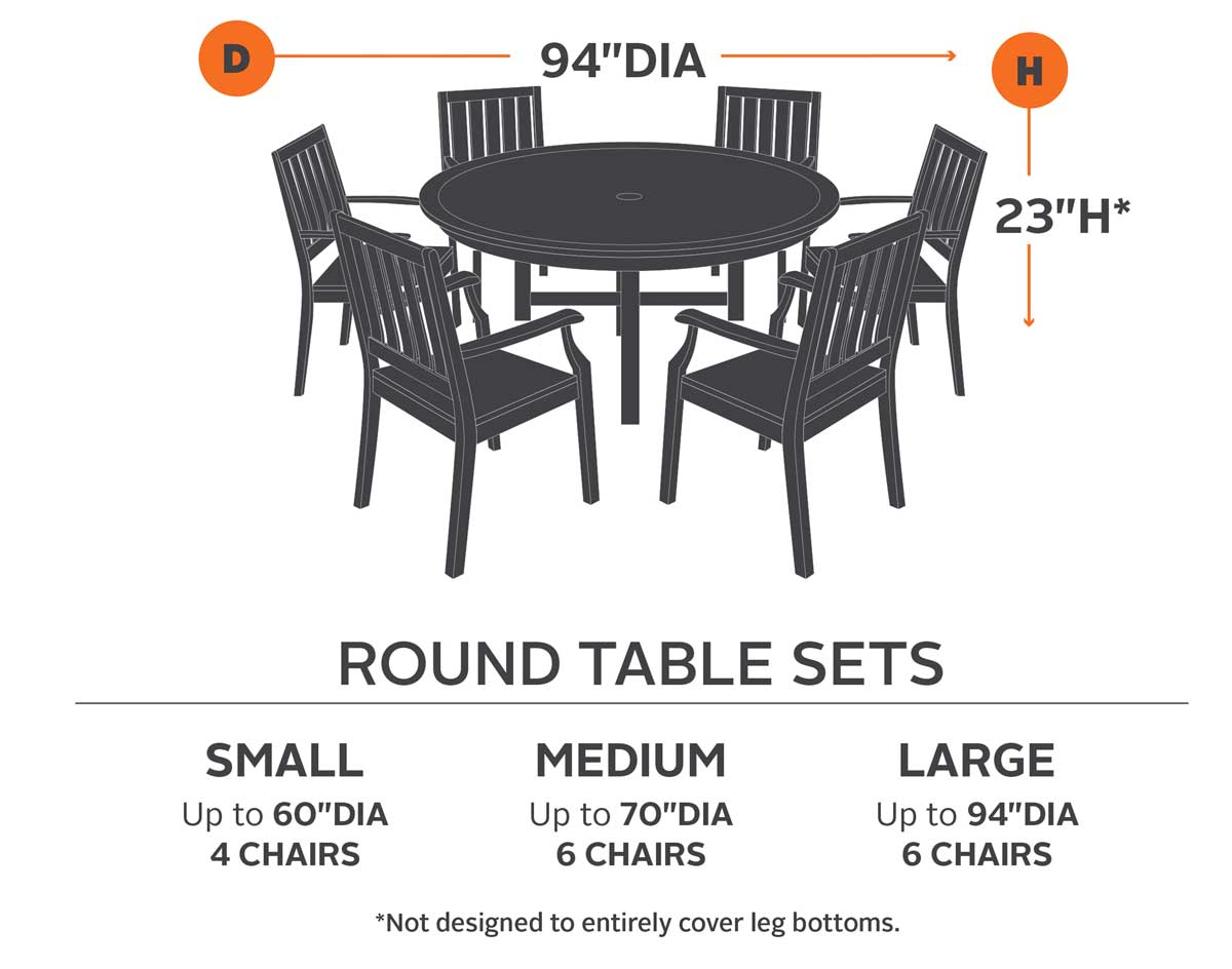 round table 6 chairs dimensions phoenix chair company 60 terrace elite and 4 standard cover