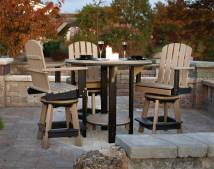 Poly Lumber Pub Table With3 Balcony Swivel Chairs