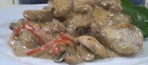 Κοτόπουλου στο φούρνο με μουστάρδα, μέλι και μανιτάρια