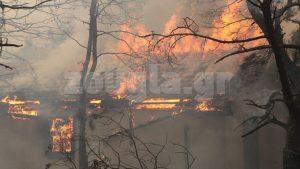 Ισχυρές πυροσβεστικές δυνάμεις επιχειρούν στην Κινέτα έπειτα από πυρκαγιά που ξέσπασε στα Γεράνεια Όρη το μεσημέρι της Δευτέρας.