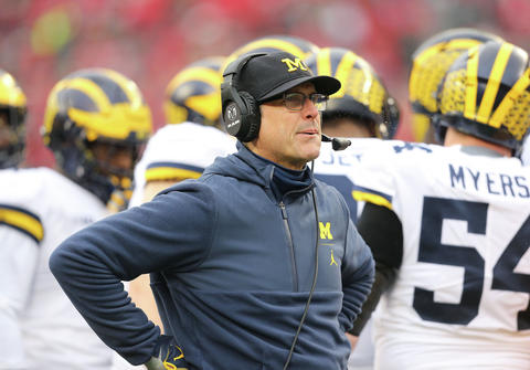 Michigan Wolverines head coach Jim Harbaugh looks up at the scoreboard during a game against the Ohio State Buckeyes at Ohio Stadium on Nov. 24, 2018. Joe Maiorana / USA TODAY Sports