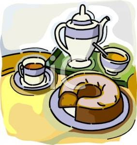 Graphic of silver coffee pot, two cups and saucers with coffee in the cups, and a plate with a Bundt cake with a slice cut out of it