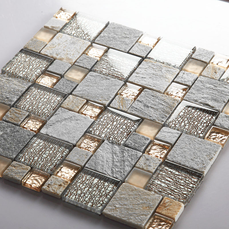 gray stone rose gold glass tiles french pattern crystal backsplash for kitchen and bathroom