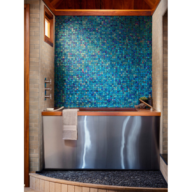sky blue mother of pearl tile stained shell mosaic for kitchen backsplash bathroom shower wall tiles