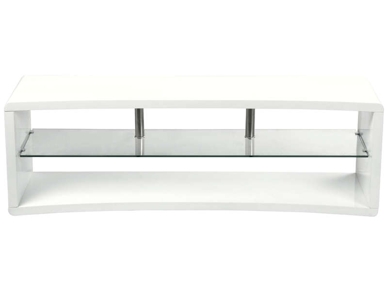 meuble tv curve coloris blanc vente