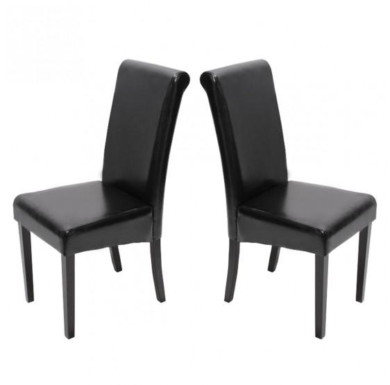 chaises cuir noir pieds foncees