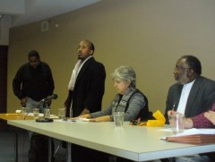 Faysal Mohamed, the husband of Amina Ali speaking at Dec. 3 forum