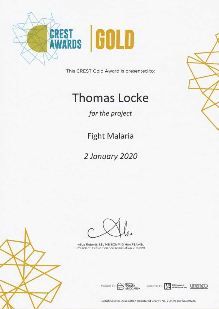 CREST Award Certificate