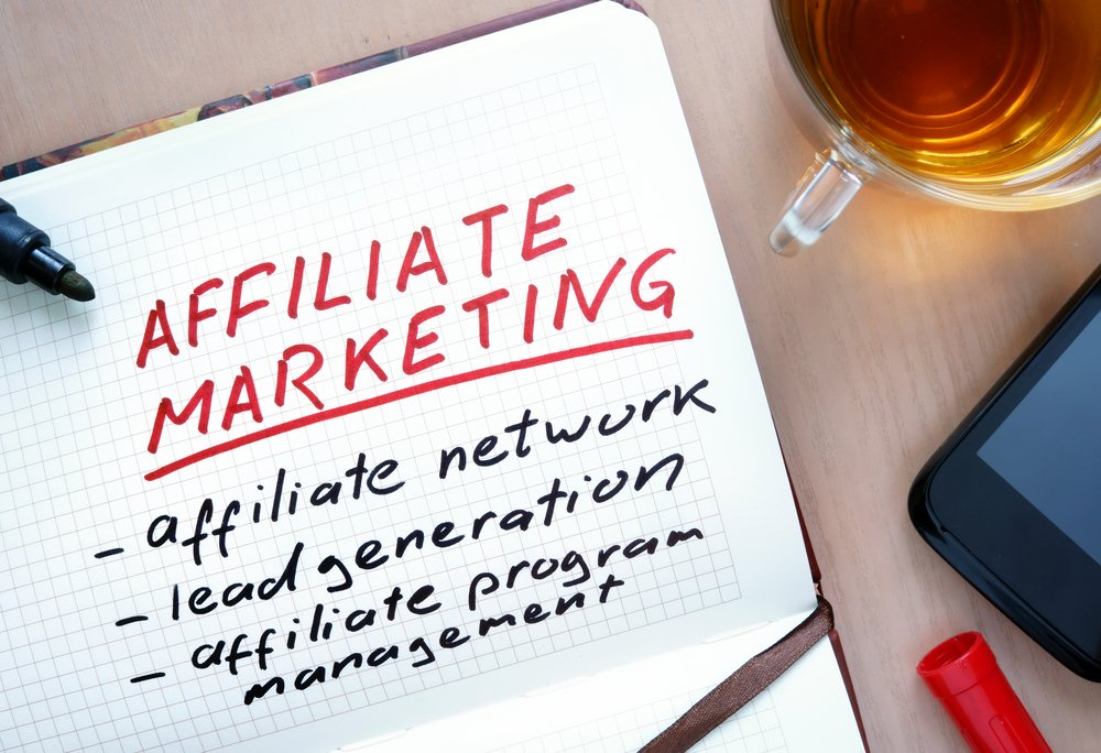 Affiliate marketing on a notepad