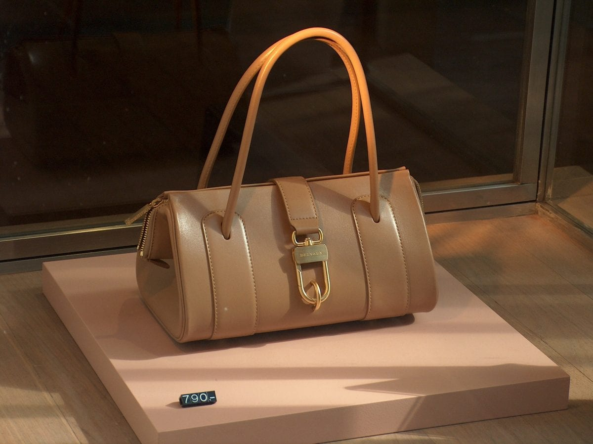 A Delvaux Bag Displayed With Its Price Tag