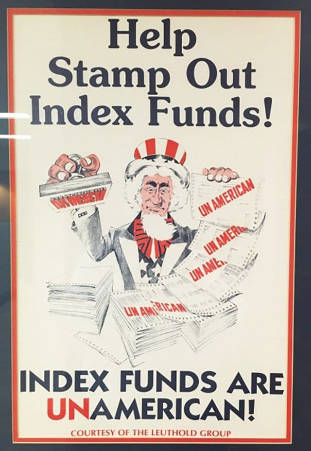 Flyer with the text: Help Stamp Out Index Funds! Index funds are unamerican!