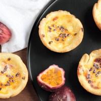 Portuguese style passion fruit custard tarts
