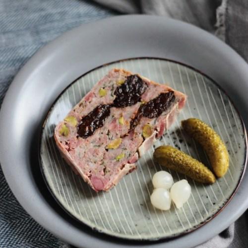 Ham hock pistachio and prune terrine
