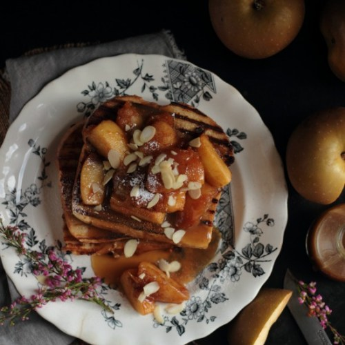 apple french toast with whisky caramel
