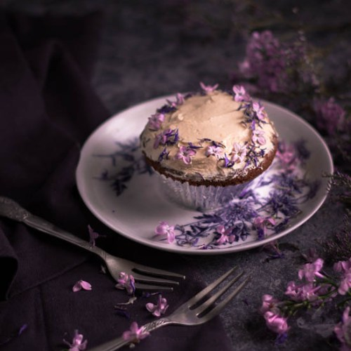 Spelt. almond and rhubarb cupcakes with a lilac honey buttercream