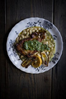 pork chops and white bean stew and salsa verde