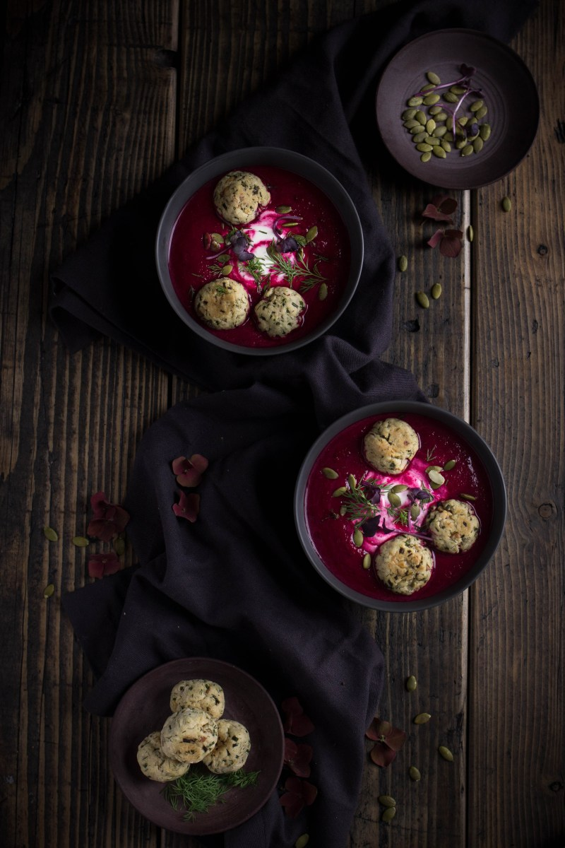 Beetroot and horseradish soup with dill dumplings