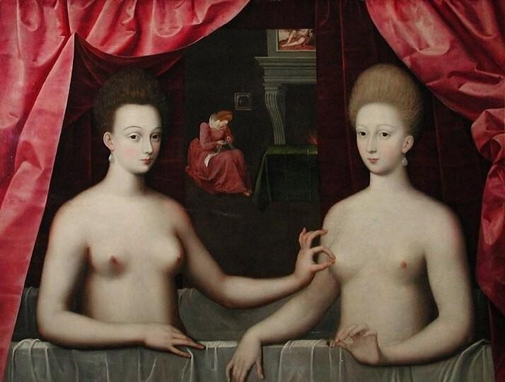 Doppelportrait der Gabrielle d'Estrées und einer ihrer Schwestern | unbekannter Künstler