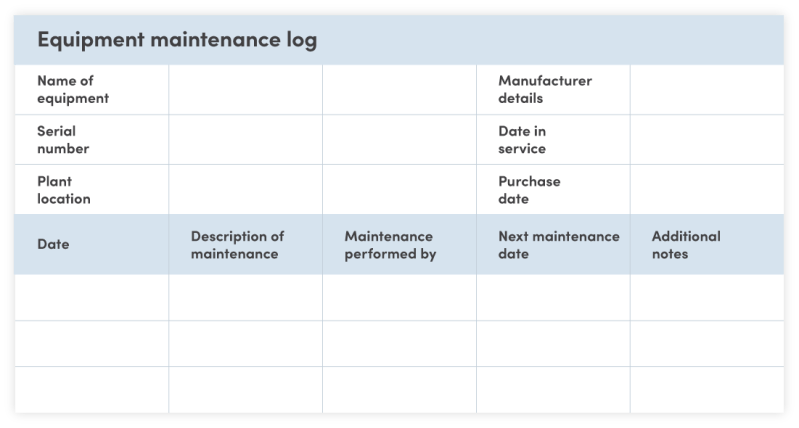 Equipment maintenance log template example