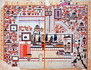 XVI. yüzyılın sonlarında Manisa Sarayı'nın minyatürü (Şemâilnâme-i Âl-i Osmân, TSMK, III. Ahmed, nr. 3592, vr. 10b-11a)