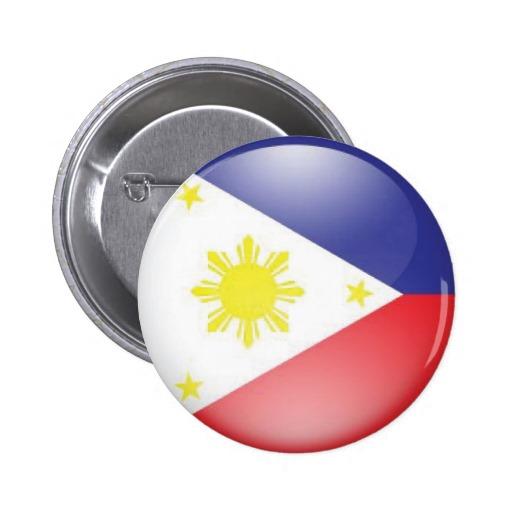 Philippine Flag: Round Button