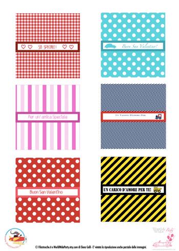 Idee regalo per San Valentino etichette per barrette di cioccolato  Stampa disegna e crea con