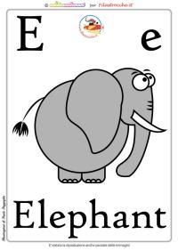 Schede alfabeto inglese da stampare: lettera E ...