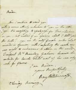 Carta escrita y firmada por Mary Wollstonecraft dirigida a la historiadora británica Catharine Macaulay en 1790.