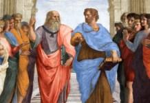 """Platón y Aristóteles en """"La escuela de Atenas"""", de Raphael Sanzio."""