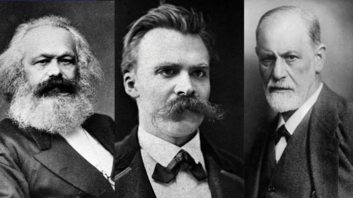 En 1965, el filósofo francés Ricoeur une a Marx, Nietzsche y Freud (de izda. a dcha.) bajo un nombre común: los filósofos de la sospecha o los maestros de la sospecha. Ricoeur encuentra que los tres ponen bajo la lupa las deficiencias de la noción de sujeto, que había sido la base sobre la que se había elaborado la filosofía moderna. Foto de Marx, de John Jabez Edwin Mayall; foto de Nietzsche, de Friedrich Hartmann, ambas vía Wikimedia Commons.