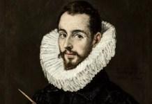 Fragmento de retrato de El Greco realizado por su hijo Jorge Manuel Theotocópuli. Se encuentra en el Museo de Bellas Artes de Sevilla (España). Imagen de dominio público distribuida por Wikimedia Commons.
