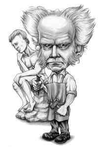 """Gareth Southwell es el ilustrador de """"¿Qué haría Nietzsche?"""" Aquí su versión de Schopenhauer."""