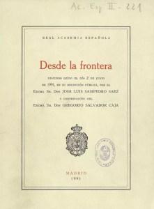 """Portada del discurso """"Desde la frontera"""" que José Luis Sampedro leyó en junio de 1991 en su ingreso en la Real Academia de la Lengua Española."""