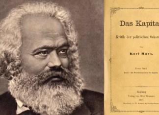 """Imagen creada a partir de foto de Karl Marx de Сара Дамњановић distribuida por Wikimedia Commons bajo licencia CC BY-SA 4.0 e imagen de """"El capital"""" de 1867 de dominio público de la Zentralbibliothek de Zúrich."""