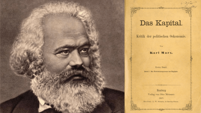 Imagen creada a partir de foto de Karl Marx de Сара Дамњановић distribuida por Wikimedia Commons bajo licencia CC BY-SA 4.0 e imagen de