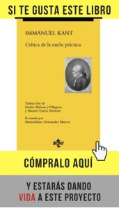 """""""Crítica de la razón práctica"""", de Immanuel Kant, en edición de Tecnos."""
