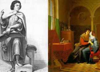 Pedro Abelardo, el profesor, y la joven alumna Heloísa se convirtieron en amantes, manteniendo su apasionada relación en secreto desde que se conocieron, en 1115, hasta que Heloísa tuvo a su hijo Astrolabio, en 1119. Acabaron casándose.