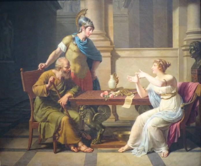 """""""El debate de Sócratres y Aspasia"""", de Nicolas-André Monsiau (1800). Musée Pouchkkine (Dominio público)"""