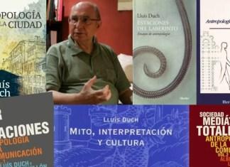 El antropólogo y doctor en Teología Lluís Duch (Barcelona 1936-2018) rodeado de varios de los libros que escribió publicados por Herder.