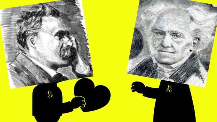 Nietzsche y Schopenhauer charlando, como nosotros con los asistentes al encuentro en el Colegio Mayor Universitario Chaminade.