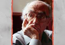 """El escritor portugués José Saramago (1922-2010). Diseño hecho a partir de una foto de junio 1999 de Saramago en Siena, Santa Maria della Scala, para la conferencia """"Il diritto e le campane"""". Atribución: Sampinz de Wikipedia en italiano. Bajo licencia Creative Commons Atribución-CompartirIgual 4.0 Internacional (CC BY-SA 4.0)."""