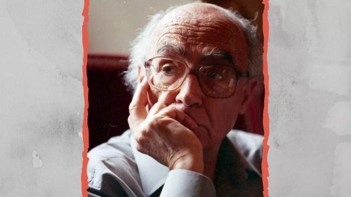 El escritor portugués José Saramago (1922-2010). Diseño hecho a partir de una foto de junio 1999 de Saramago en Siena, Santa Maria della Scala, para la conferencia