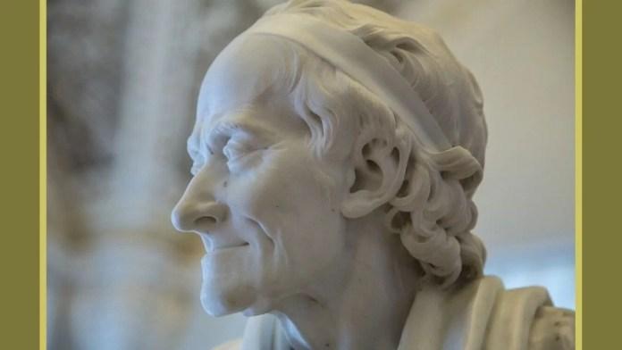 Diseño hecho a partir de una imagen de korpiri en Pixabay de la estatua de Voltaire en el museo Hermitage de San Petersburgo (Rusia).