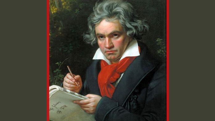 Beethoven (1770-1827). Diseño hecho a partir del «Retrato de Ludwing van Beethoven mientras componía la Misa Solemne», de Karl Joseph Stieler, distribuido por Wikipedia en dominio público.
