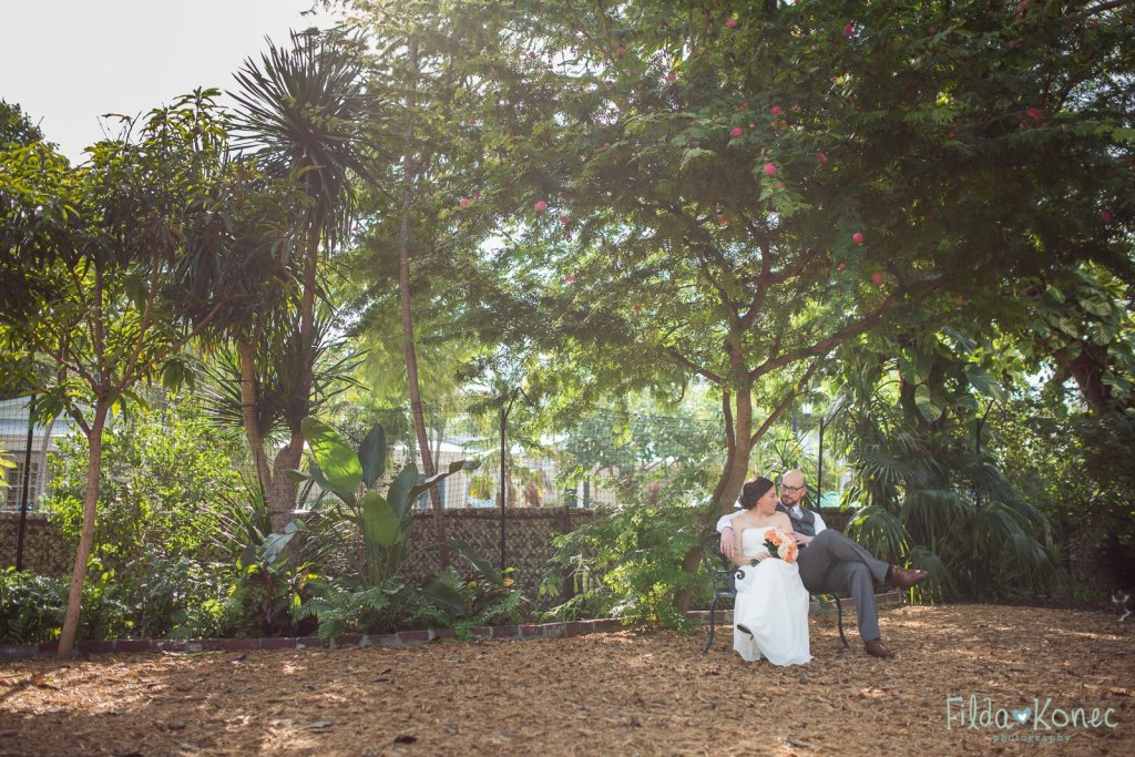 couple on the bench wedding photograph in key west florida