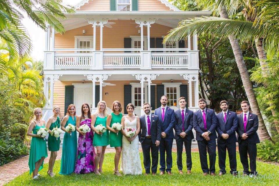 bridal party photo in key west, florida
